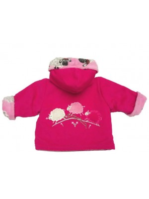 Cerise Cord / Pink Sheep Fleece Jacket with 3 Sheep Applique (avail. 3m - 4 yrs)