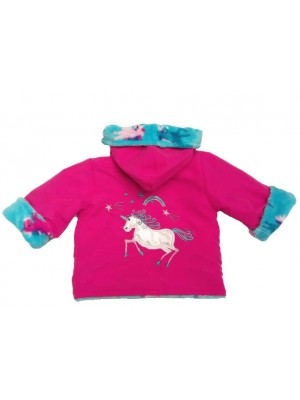 Cerise Water Resistant / Turquoise Unicorn Fleece Jacket with Unicorn Applique (avail. 3m - 8yrs)