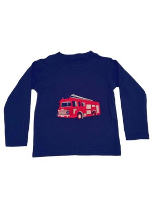 Long Sleeve Navy T-Shirt with Fire Engine Applique (avail. 3m - 8 yrs)