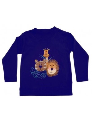 Long Sleeve Navy T-Shirt with a Jungle applique (avail. 0 - 4 yrs)