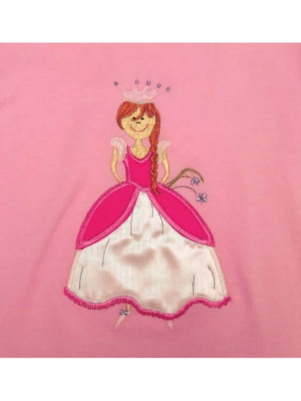 Long Sleeve Light Pink T-Shirt with Princess Applique (avail. 3m - 8 yrs)