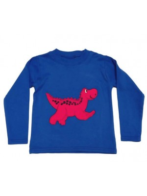 Long Sleeve Royal T-Shirt with a Dinosaur applique (avail. 0 - 8 yrs)