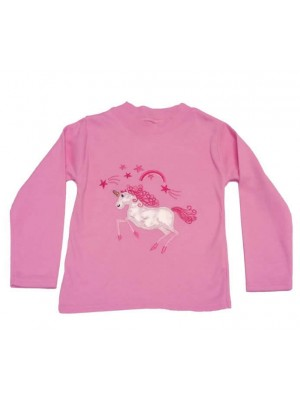 Long Sleeve Light Pink T-Shirt with Unicorn Applique (avail. 3m - 8 yrs)