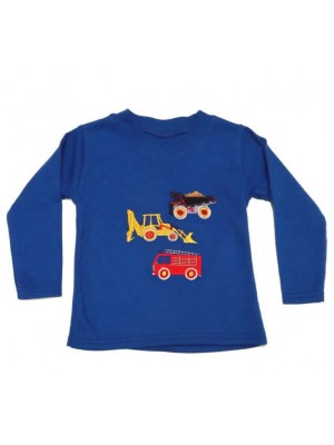 Long Sleeve Royal T-Shirt with a 3 Vehicle Applique (avail. 0 - 8 yrs)