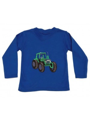 Long Sleeve Royal T-Shirt with Green Tractor Applique (avail. 3m - 8 yrs)