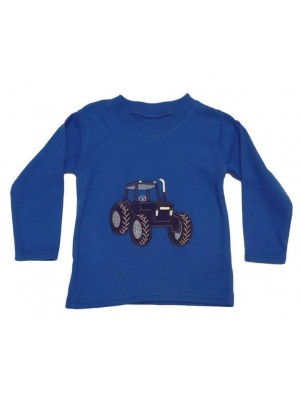 Long Sleeve Royal T-Shirt with Navy Blue Tractor Applique (avail. 3m - 8 yrs)