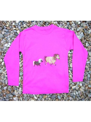 Long Sleeve Cerise T-Shirt with 2 Pony Applique (avail. 3m - 8yrs)