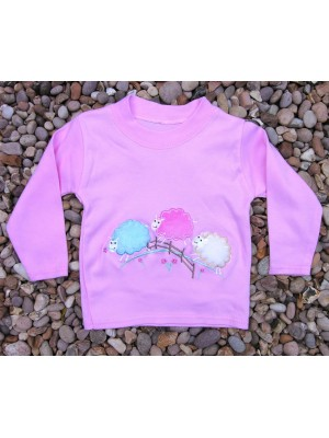 Long Sleeve Light Pink T-Shirt with 3 Sheep Applique (avail. 0 - 6yrs)