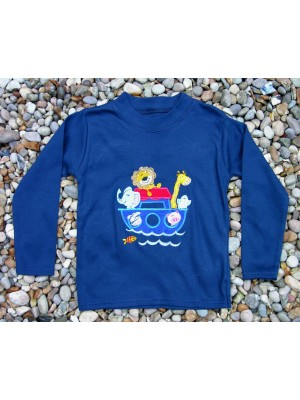 Long Sleeve Navy T-Shirt with Noahs Ark Applique (avail. 0 - 2yrs)
