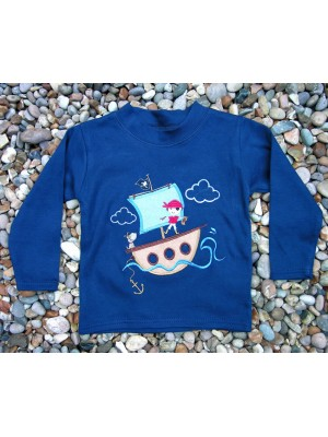 Long Sleeve Navy T-shirt with Pirate Boy applique (avail. 0 - 8yrs)