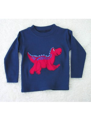 Long Sleeve Navy T-Shirt with Red Dinosaur Applique (avail. 3m - 8yrs)