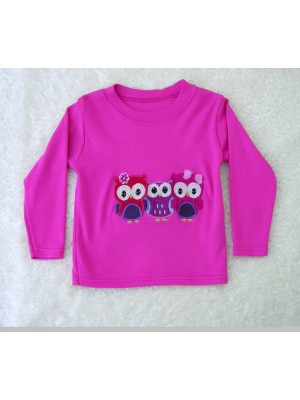 Long Sleeve Cerise T-Shirt with Owl Applique (avail. 6m - 8yrs)