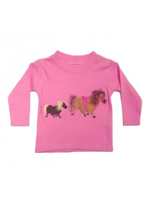 Long Sleeve Light Pink T-Shirt with 2 Pony Applique (avail. 3m - 8yrs)