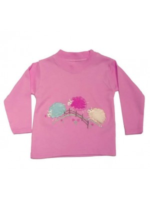 Long Sleeve Light Pink T-Shirt with 3 Sheep Applique (avail. 0 - 4yrs)