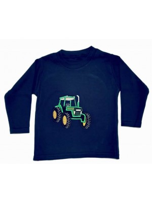 Long Sleeve Navy T-Shirt with Green Tractor (avail. 3m - 8yrs)