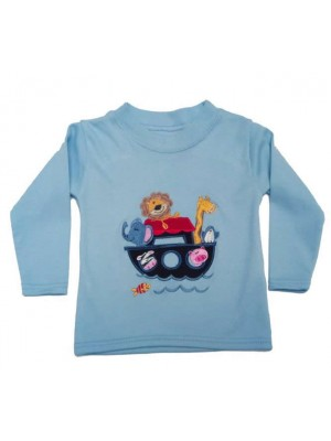 Long Sleeve Pale Blue T-Shirt with Noah's Ark Applique (avail. 0 - 4yrs)