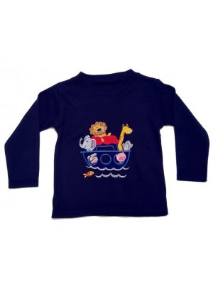 Long Sleeve Navy T-Shirt with Noahs Ark Applique (avail. 0 - 4yrs)
