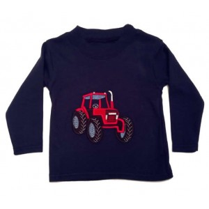 Long Sleeve Navy T-Shirt with Red Tractor Applique (avail. 3m - 8yrs)