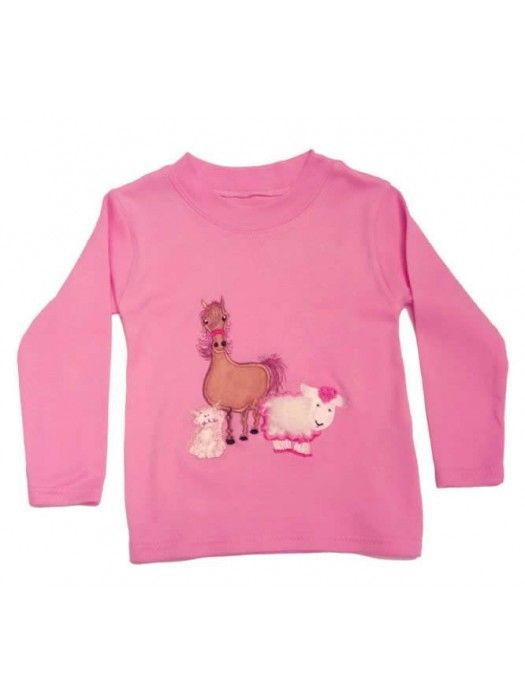 Long Sleeve Light Pink T-Shirt with Farmyard Gathering Applique (avail. 0 - 8yrs)