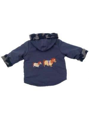 Navy Water Resistant / Navy Horse Fleece Jacket with Pony Applique (avail. 3m - 8yrs)