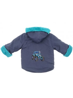 Navy Showerproof/Teal Cuddle Fleece Jacket with Tractor Applique (avail. 6m - 6yrs)