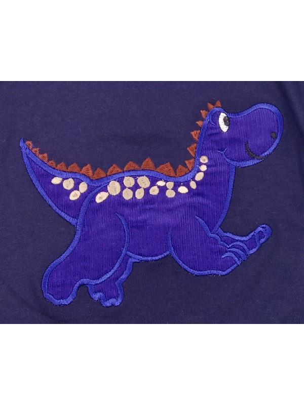 Long Sleeve Navy T-Shirt with Blue Dinosaur Applique (avail. 3m - 8yrs)