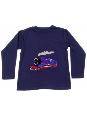 Long Sleeve Navy T-shirt with Royal Blue Train Applique (avail. 6m - 8yrs)