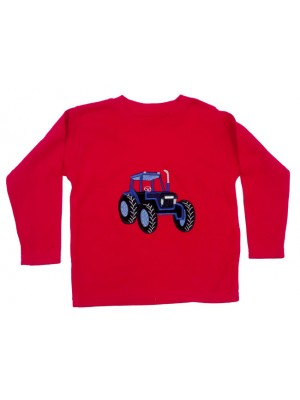 Long Sleeve Red T-Shirt with a Tractor Applique (avail. 3m - 8yrs)