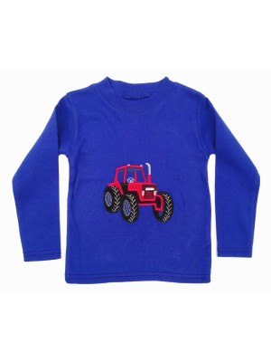 Long Sleeve Royal Blue T-Shirt with Red Tractor Applique (avail 0 - 8yrs)