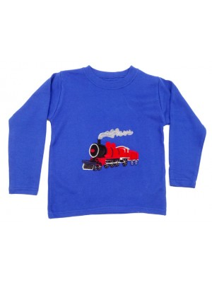 Long Sleeve Royal T-Shirt with Red Train Applique (avail. 6m - 8yrs)