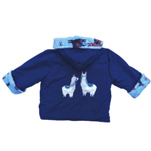 Navy Water Resistant / Pale Blue Llama Cuddle Fleece Jacket with Llama Applique (avail. 3m - 6yrs)